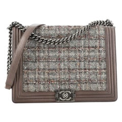 Chanel Boy Flap Bag Quilted Tweed Large