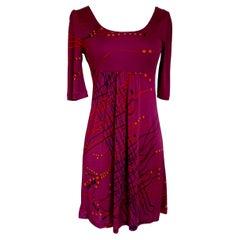 Flora Kung puff sleeve cranberry Japanese tassel print silk dress