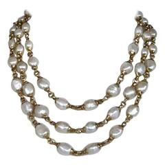 Goossens Paris Triple Row White Pearl Necklace