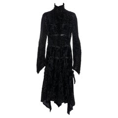 Versace black laser-cut lambskin coat with leather bondage straps, fw 2004