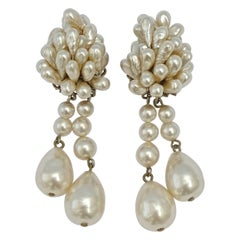 French Silver and Freshwater Pearl Cluster Clip On Baroque Pearl Drop Earrings
