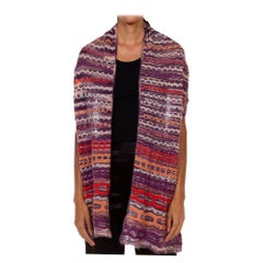 1990S MISSONI Purple Wool Blend Chevron Knitted Scarf