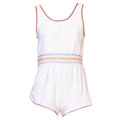 1970S White & Red Trim  Terry Cloth Swim Cover Romper