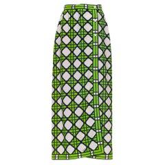 1960S White & Electric Green Polyester Geometric Print Button Down Skirt