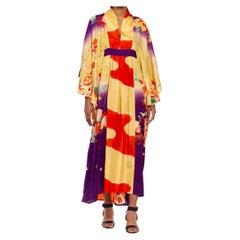 MORPHEW COLLECTION Ivory Orange & Purple Japanese Kimono Silk Hand Dyed And Pai