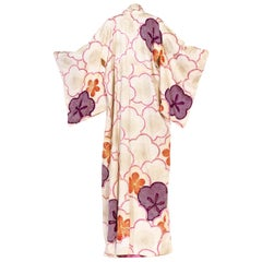 1950S White Pink & Purple Silk Hand Painted Embroidered Shibori Kimono
