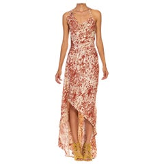 MORPHEW COLLECTION Burgundy & Cream Silk Crepe Backless Cowl Gown Made From Jap