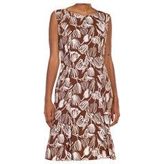 1960S Brown & White  Cotton Tulip Print Mod Day Dress