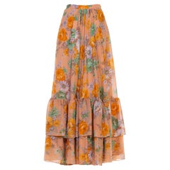1970S Dusty Pink Orange & Green Floral Tiered Ruffle Skirt