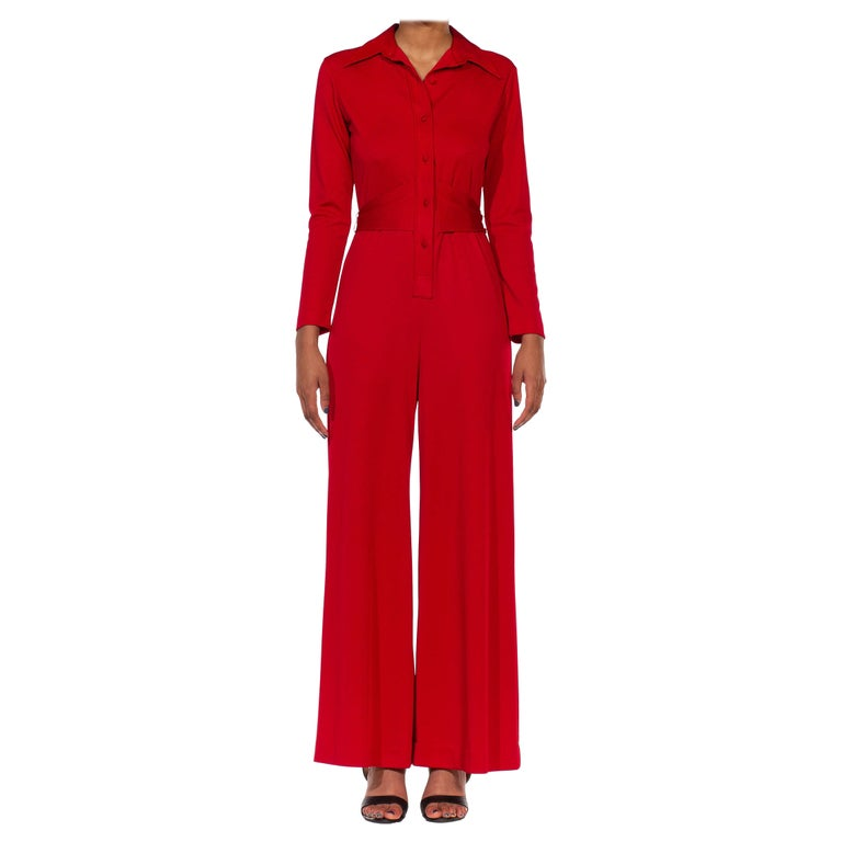 1970S LANVIN Red Polyester Button Down & Waist Tie Jumpsuit For Sale