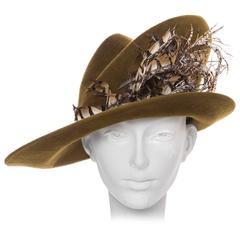 Philip Treacy Olive Wool Felt Hat