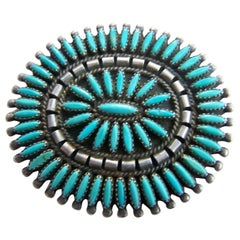Native American Zuni Turquoise Petti Point Sterling Silver Brooch Pin Pendant