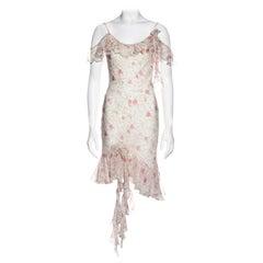 Christian Dior by John Galliano pink silk chiffon rose print dress, ss 1999