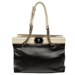 Chanel Black and Cream Leather Boy Bag Tote