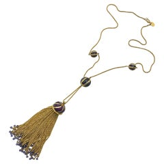 Anne Klein Couture Purple Enamel & Gold Tassel Pendant Necklace
