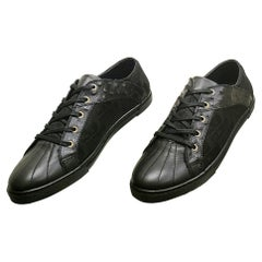 NEW JUST CAVALLI BLACK LEATHER SNEAKERS w/OSTRICH DETAILS 46 - 13