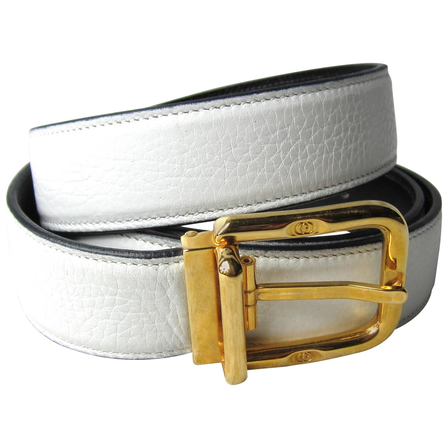 Expandable Furniture Gucci Belt White Leather Signature Buckle New Old Stock