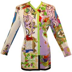 S/S 1992 Gianni Versace Couture Mare Tirreno Italy Print Long Jacket 40
