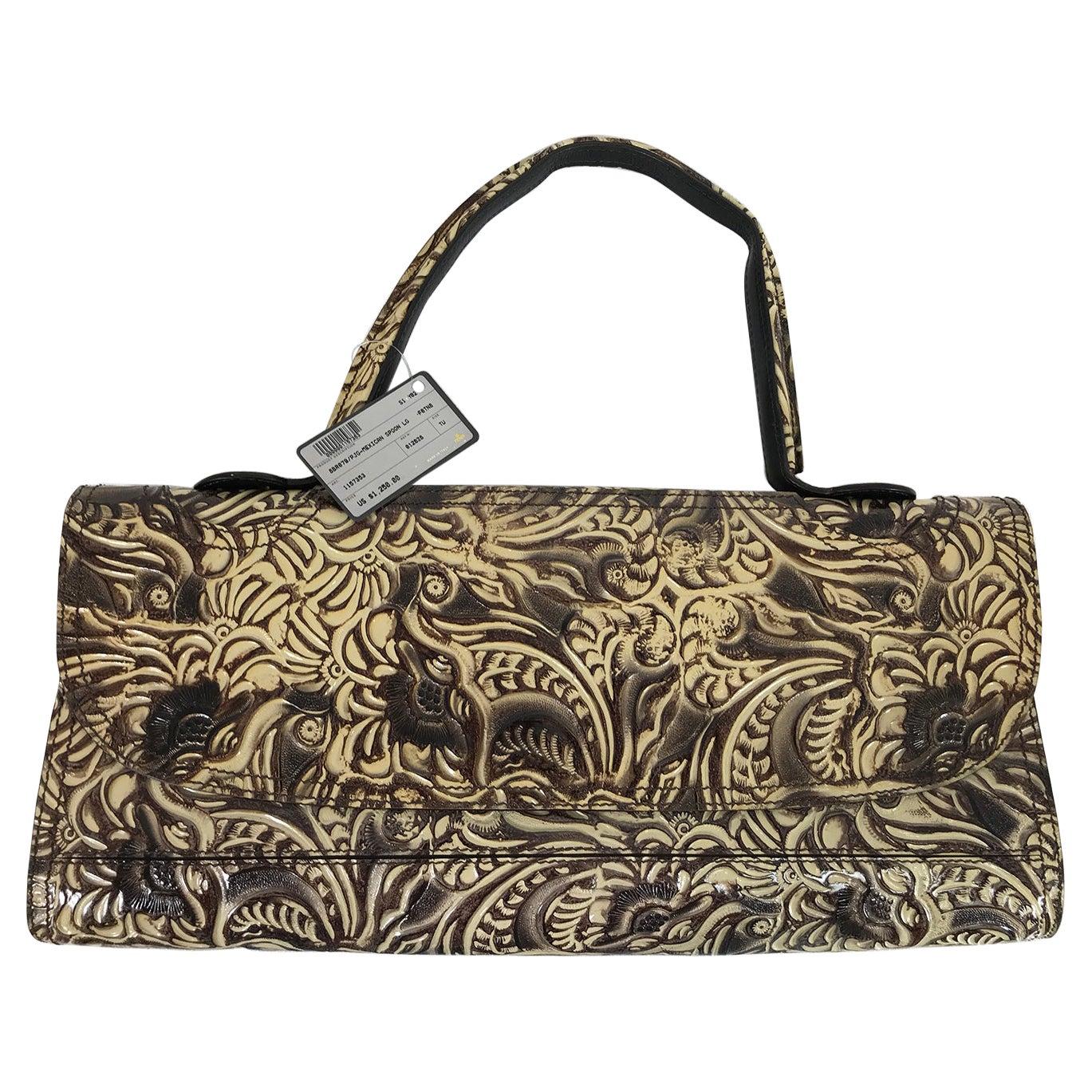 Fendi Flap Front Wide Brown & Cream Tooled leather Shoulder Bag Clutch