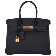 Hermes Birkin 30 Bag Black Gold Hardware Epsom Leather New w/ Box