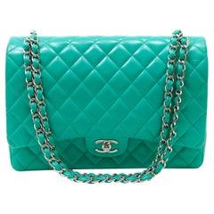 Chanel Mint Lagoon Lambskin Maxi Double Flap Bag