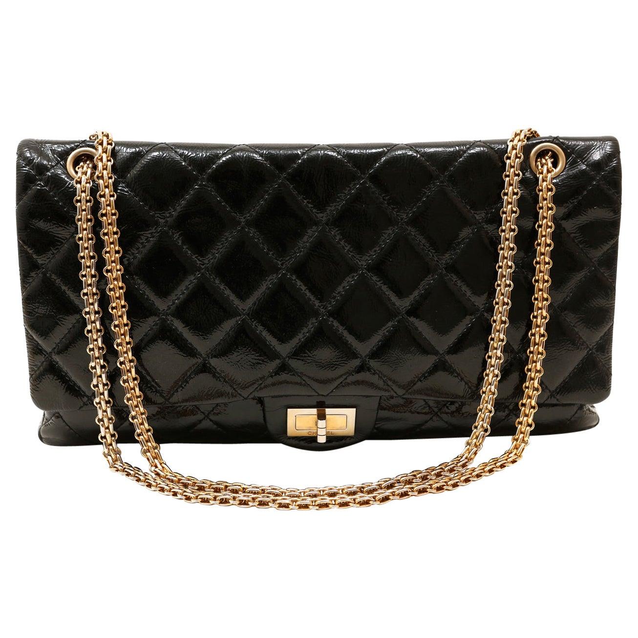 Chanel Black Patent Leather Reissue Maxi Flap Bag 228 size