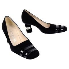 Chanel Autumn Winter 2000 Black Suede Leather Pumps w Round Block Heels 6.5