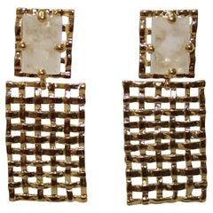 Basket Weave 24-carat Gilded Bronze and Rock Crystal Earrings
