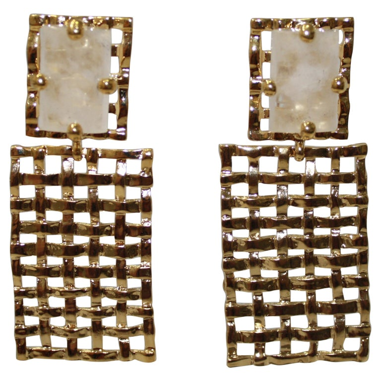 Basket Weave 24-carat Gilded Bronze and Rock Crystal Earrings For Sale