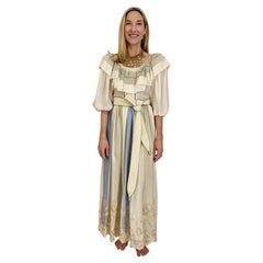 Vintage Oscar De La Renta Creme and Blue Silk Blouse and Skirt Set