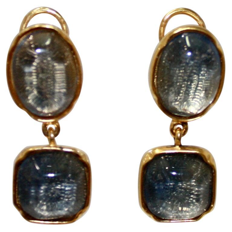 Goossens Paris Double Cabochons clip Earrings  For Sale