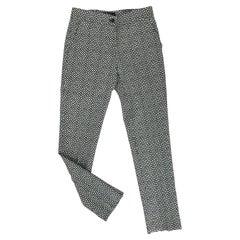 Etro Black & White Diamonds & Squares Print Wool Trousers 38