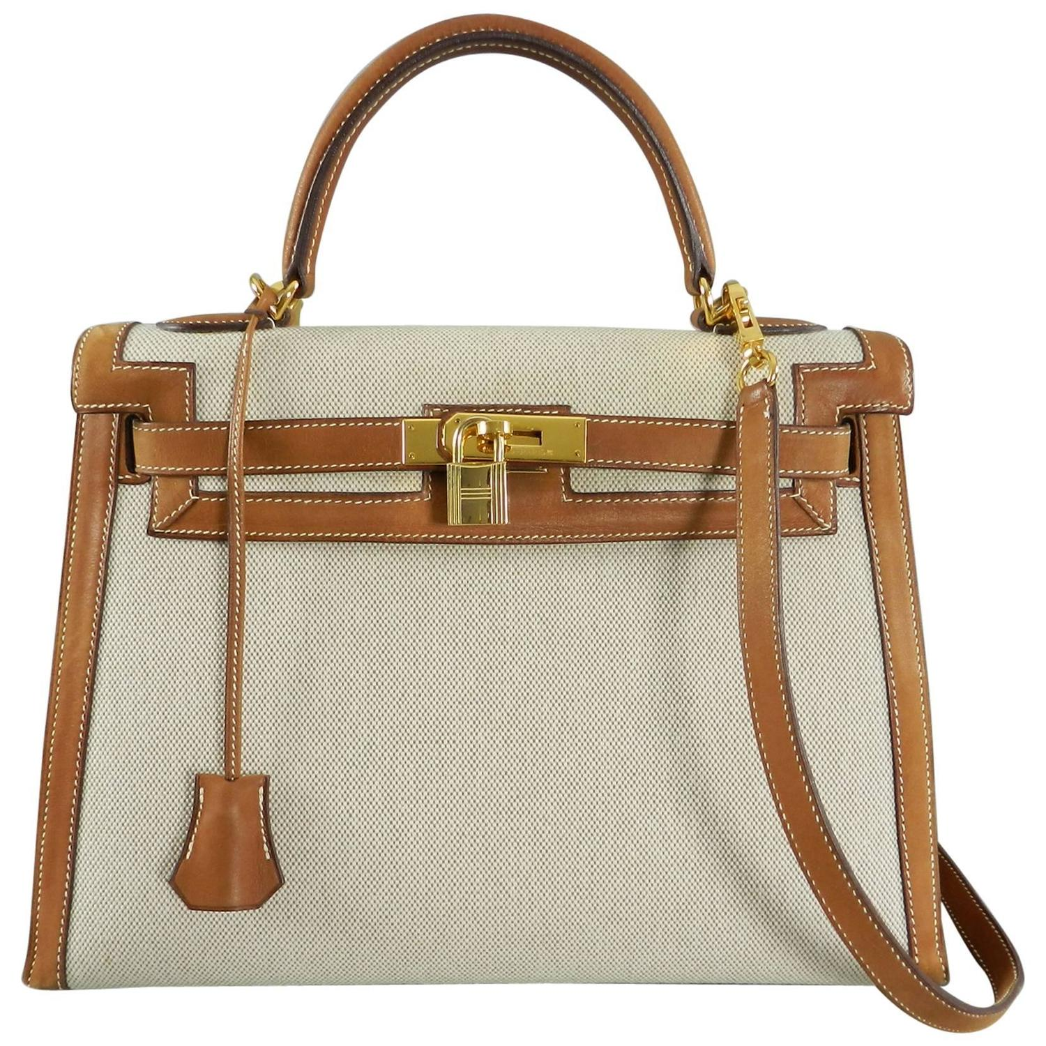 Hermes 30cm Natural Barenia and Toile Birkin Bag