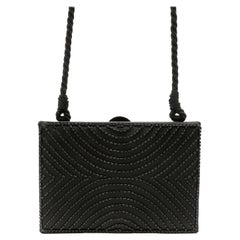 Chanel Black Vintage Beaded Mini Box Evening Bag