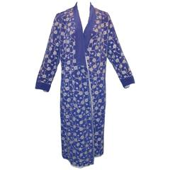 1920's Babani Couture Royal Blue Silk Embroidered Wrap Coat Jacket