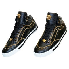 NEW VERSACE STUDDED HIGH-TOP SNEAKERS with GOLD 3D MEDUSA BUCKLE SIZE 39 - 6