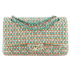 Chanel Classic Double Flap Bag Quilted Multicolor Tweed Medium