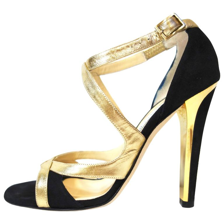 Jimmy Choo Black Suede Gold Leather 'Texas' Sandals 38.5 For Sale