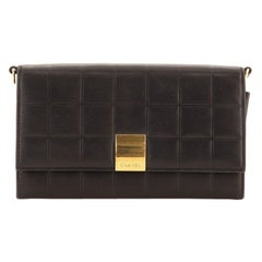 Chanel Chocolate Bar Chain Clutch Quilted Lambskin Small