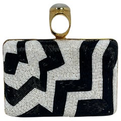 Tom Ford Black & White Beaded Ring Clutch Bag