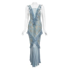 Vintage 2003 Christian Dior by Galliano Metallic Blue Silk Lace-Up Bias Cut Gown