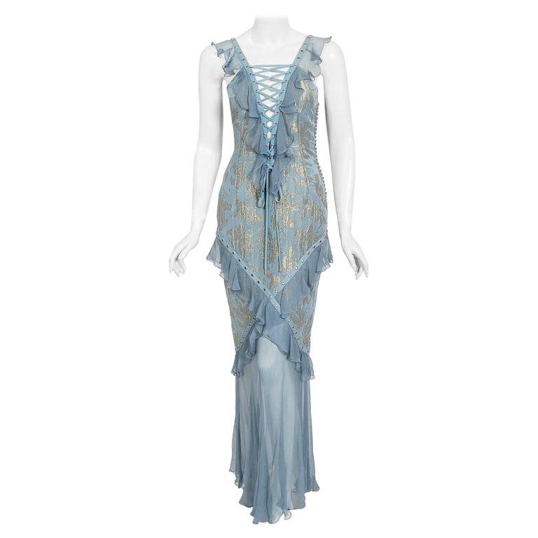 Vintage 2003 Christian Dior by Galliano Metallic Blue Silk Lace-Up Bias Cut Gown For Sale