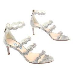 Prada Calzature Donna Roccia Snakeskin Wavy Ankle Strap Heeled Sandals