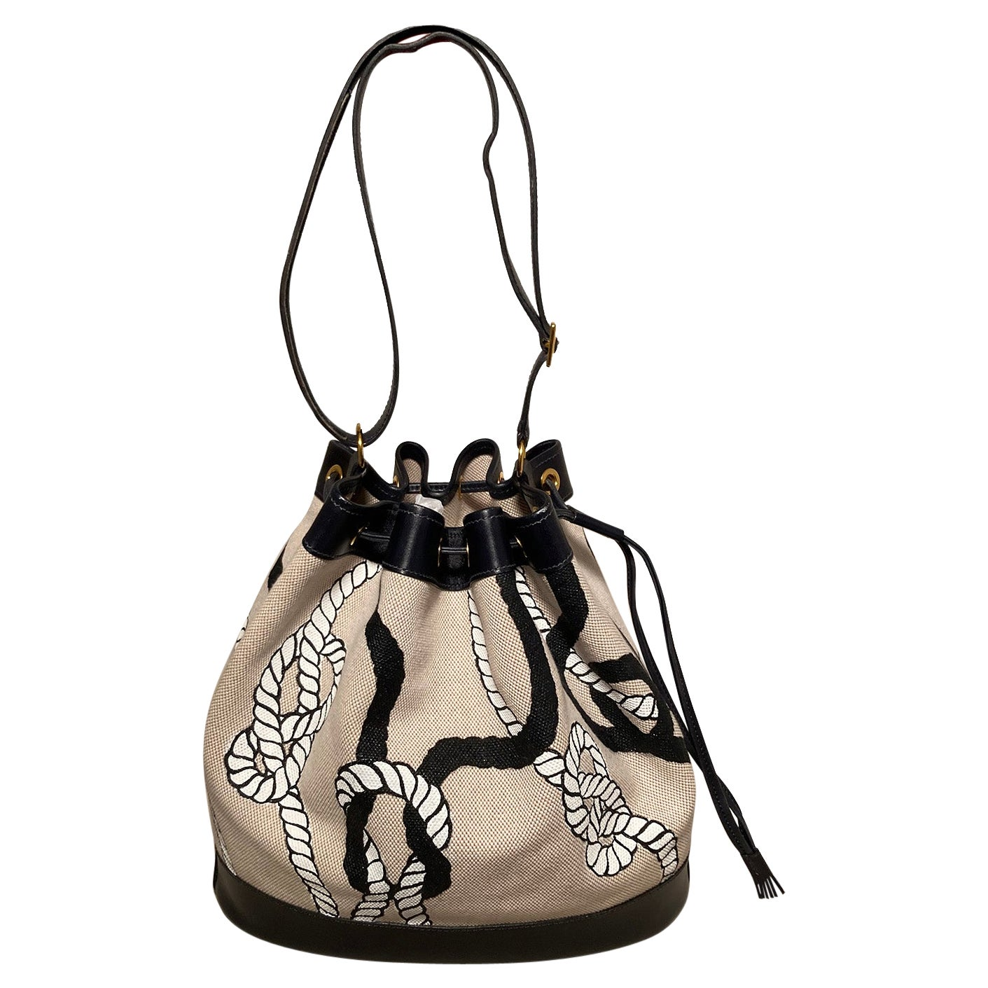 Hermes Vintage Drawstring Bucket Bag Hand Painted