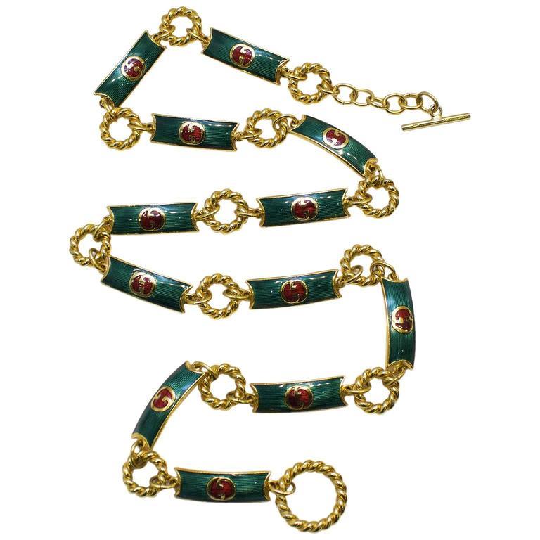 Gucci Green Enamel Belt  For Sale