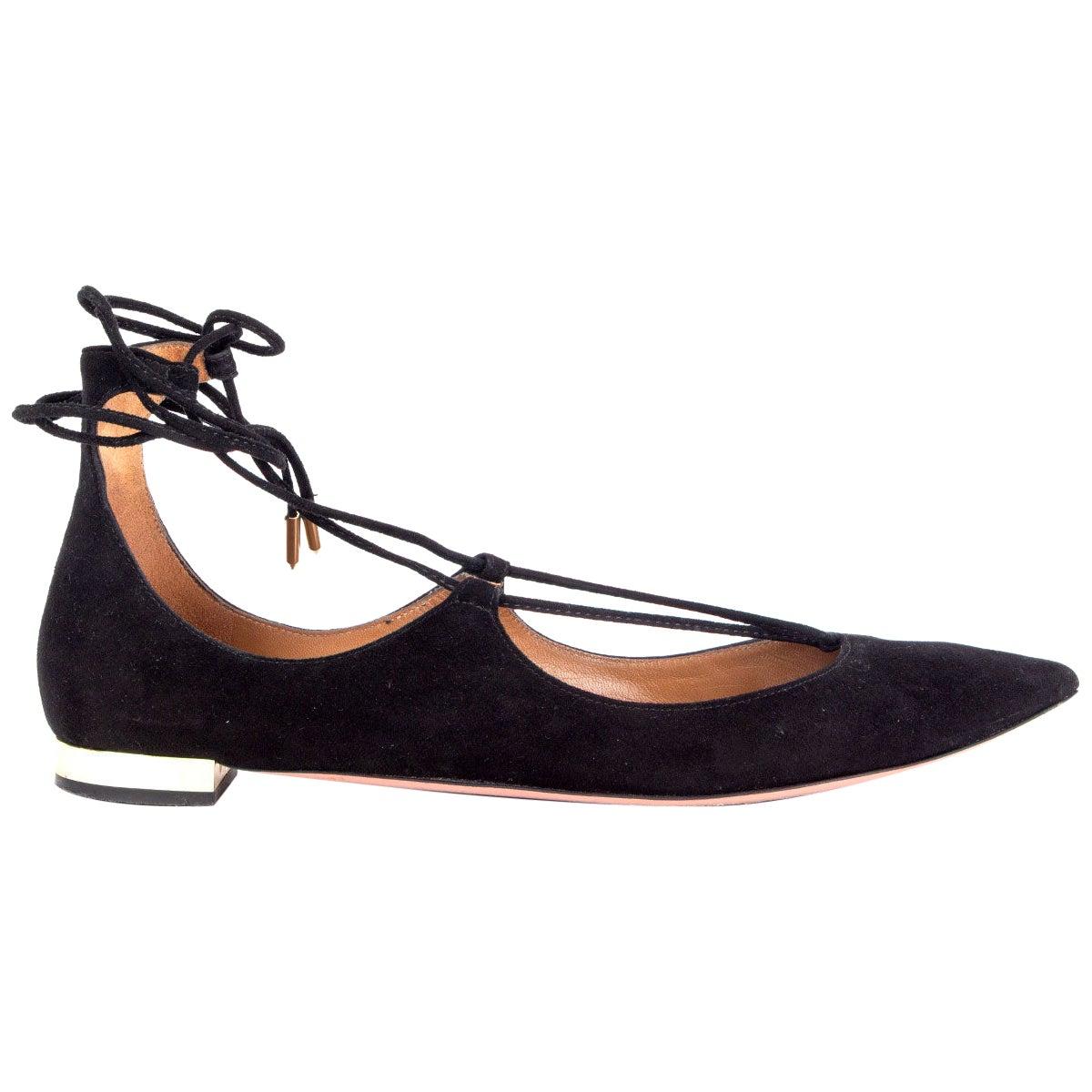AQUAZZURA black suede Lace Up Flats Shoes 38