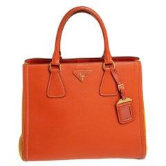 Prada Orange/Yellow Bi Color Saffiano Lux Leather Tote