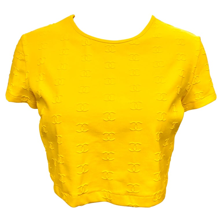 """Chanel Spring 1997 Yellow """"CC"""" Cropped Top  For Sale"""