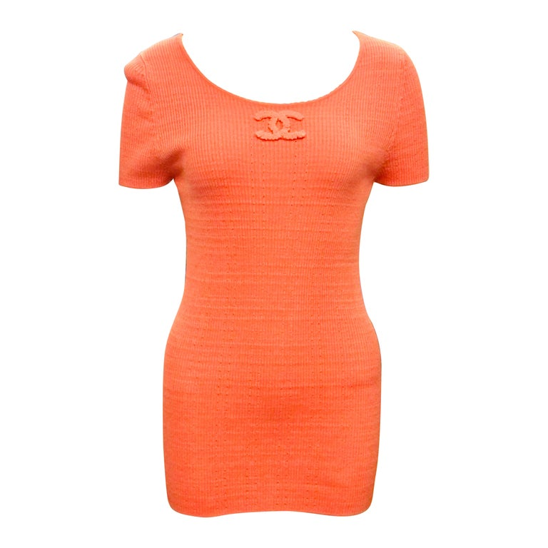 """Chanel 2009 Spring Pink """"CC"""" Cotton Short  Sleeve Top For Sale"""