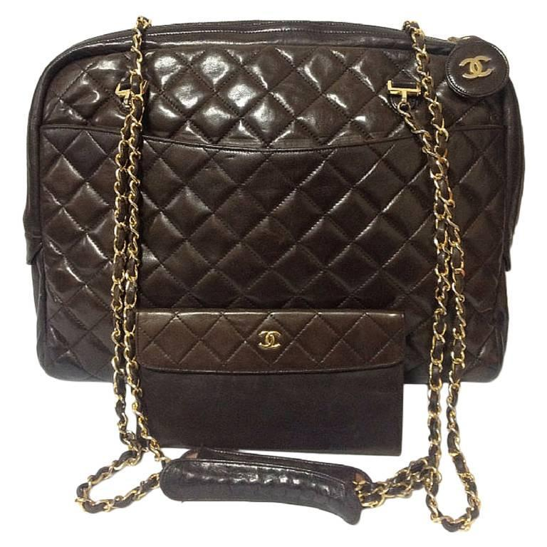 7b0983371da4 Chanel Vintage Handbags By Year 1970s 1980s. 1980s Vintage CHANEL dark  brown lambskin large classic bag ...